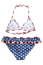 Layered Ruffle Trim Yhdysvaltain lippu uimapuku