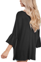Svart V Neck Ruffle Sleeve Oversize Top