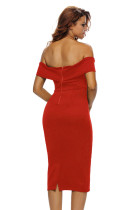 Dress Midi Off-the-shoulder Merah