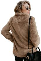 Abrigo de invierno mullido estilo bolsillo marrón