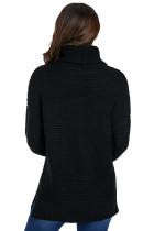 Μαύρο ζεστό μανίκι πουλόβερ πουλόβερ