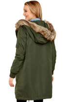 Army Vihreä Fur Trim Huppari Longline Coat