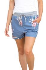 Flush Floral Print Blue Lässige Shorts
