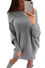 Grey Stylish Long Sleeve Baggy Sweater Dress
