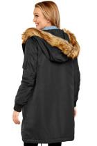 معطف الفرو الأسود الطويل