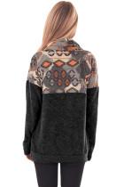 Svart Tribal Cowl Neck Kangaroo Lomme Sweatshirt