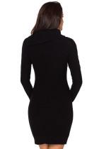 Asymetryczna zapinana na guziki obroża Czarna sukienka z bodyconu