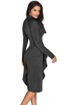 Grijze asymmetrische Peplum-stijl kutboog jurk