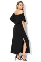 الأسود انتفض قبالة الكتف فستان ماكسي جيرسي