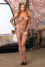 Off-the-bahu Pagar Net Bodystocking