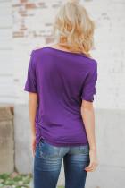 Фиолетовый холодный плечо Ruched Sides футболка