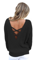 Black Cross Back Hollow-out trui