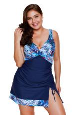 2pcs Tropical Print Detail Costume da bagno blu navy