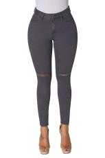 Gri Trendy Yarık Diz Kot Pantolon