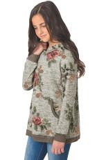 Grijze bloemen hoodie voor meisjes