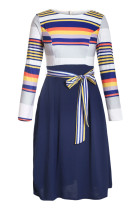 Navy Yellow Striped Poplin Sash Tie Midi Bikini