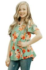 Groene, bloemenprint koude schoudertop voor meisjes