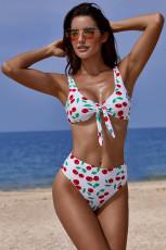 White Cherry Print Tie Depan Tinggi Pinggang Bikinis