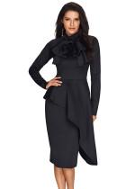 Black Asymmetric Peplum Style Cat Bow Dress