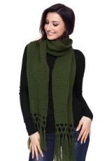 Зеленый Уютный Короткие Вязание Тассел Шарф