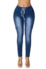 Sedang Blue Drawstring Ankle Pocket Denim Jeans