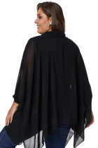 Black Long Sleeve Chiffon Overlay Plus Plus Blouse