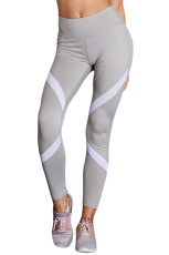 Grå Patchwork High Waist Gym Leggings
