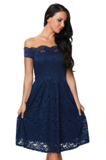 Biru Scalloped Off Shoulder Flared Lace Dress