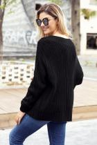 Černý kabel Knit V Neck Sweater