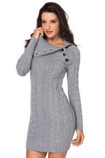 Asymetrický zapuštěný obojek Grey Bodycon Sweater Dres