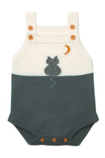 Grå Kat Under Månen Bomuld Strik Spædbarn Bodysuit