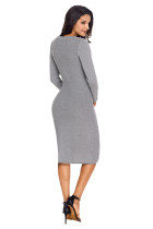 Gaun Sweater Rajutan Tangan Grey Womens