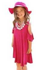어린 소녀를위한 장미 빛 프릴 콜드 숄더 드레스