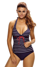 Nautical Striped 2pcs Neckholder Tankini-Badeanzug