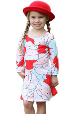 Blue Santa Claus Light Blue Girls Dress Printed Girls