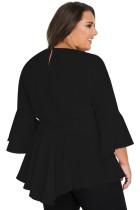 Schwarze häkeln Insert Bell Sleeve Plus Size Top