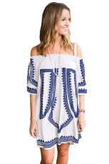 Omuz Beyaz Elbise Kapalı Beyaz Bohemian Vibe Geometrik Baskı