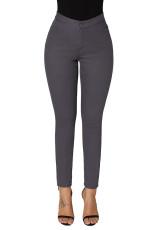 Abu-abu Skinny Jeans Pinggang Tinggi dengan Kantong Bulat