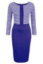 Cobalt Blue Houndstooth Patchwork Pencil Midi Dress