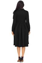 Black Bowknot Îmbrăcat imbracat de buzunar Neck rochie de buzunar