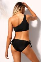 Siyah Bir Omuz Bikini Kravat Up 2pcs Mayo