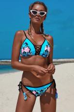 Açık Mavi Damask Çiçek İki Adet Bikini Mayo