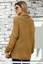 Khaki Cozy Long Sleeves Turtleneck Sweater