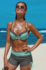 Mint Gray Bicolor Patchwork Underwired Bikini Swimsuit