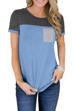 Tričko s kapucí v barvě nebesky modré barvy