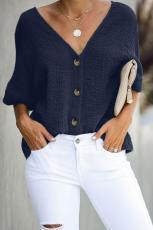 Azul embeba-o algodão blusa botão