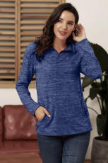 Blå Quarter Zip Pullover Sweatshirt