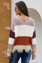 Röd Colorblock Distired Sweater