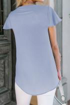 Himmelblaues Kurzarm-T-Shirt mit V-Ausschnitt
