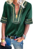 Rochie verde Boho brodată cu guler casual